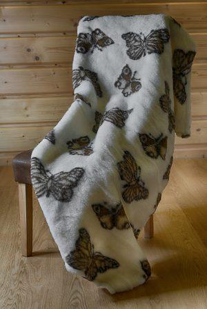 Deka 100% OVČIA VLNA (ovčie rúno) vzor Motýľ 180 x 200 cm